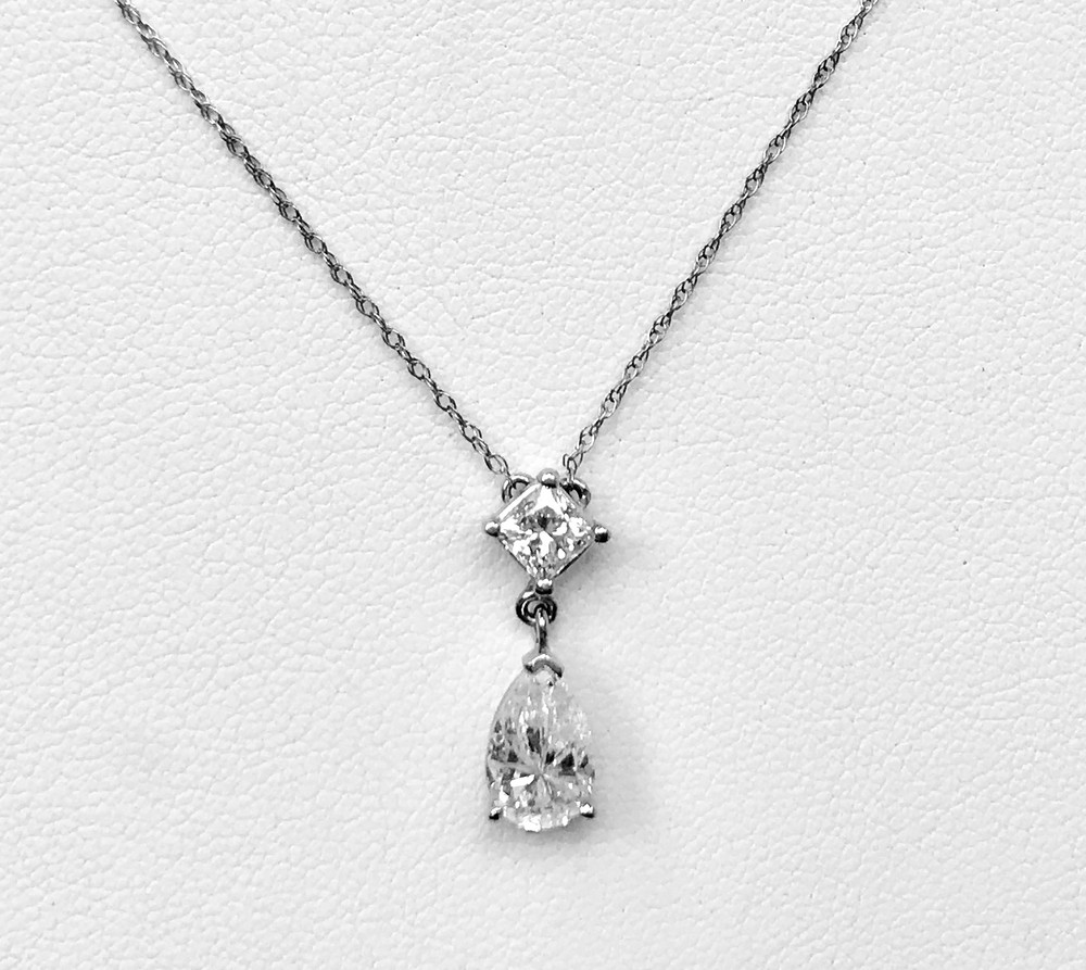 Diamond Drop Necklace with Pear and Princess Cut Diamonds