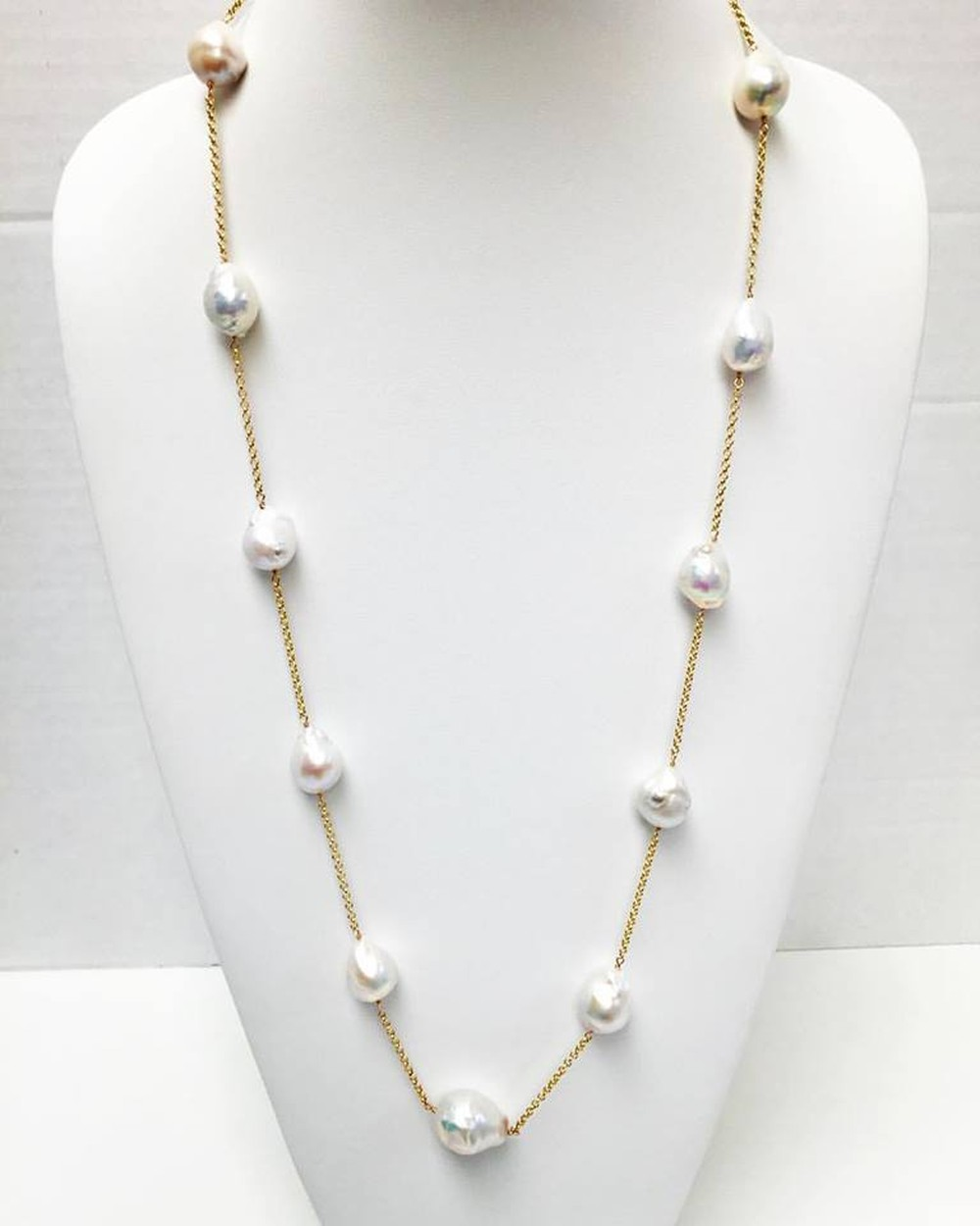 Baroque Pearl and 14K Gold Chain Station Necklace