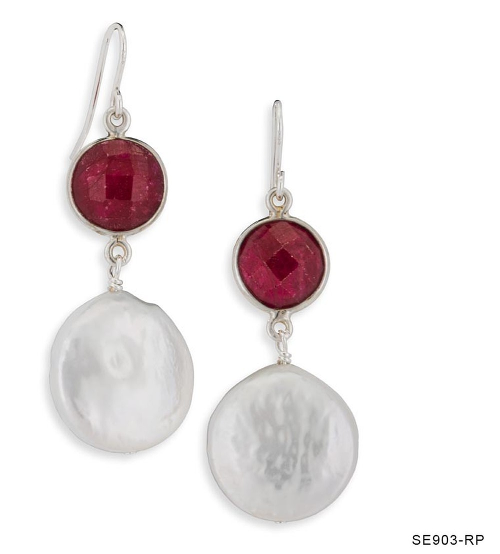 Pearl and Ruby Drop Earrings