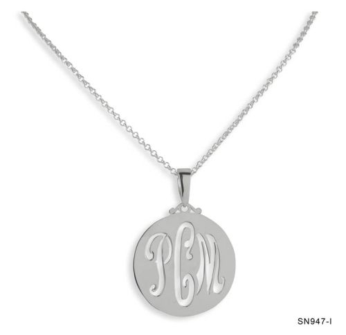 Silver Initials Cutout Necklace