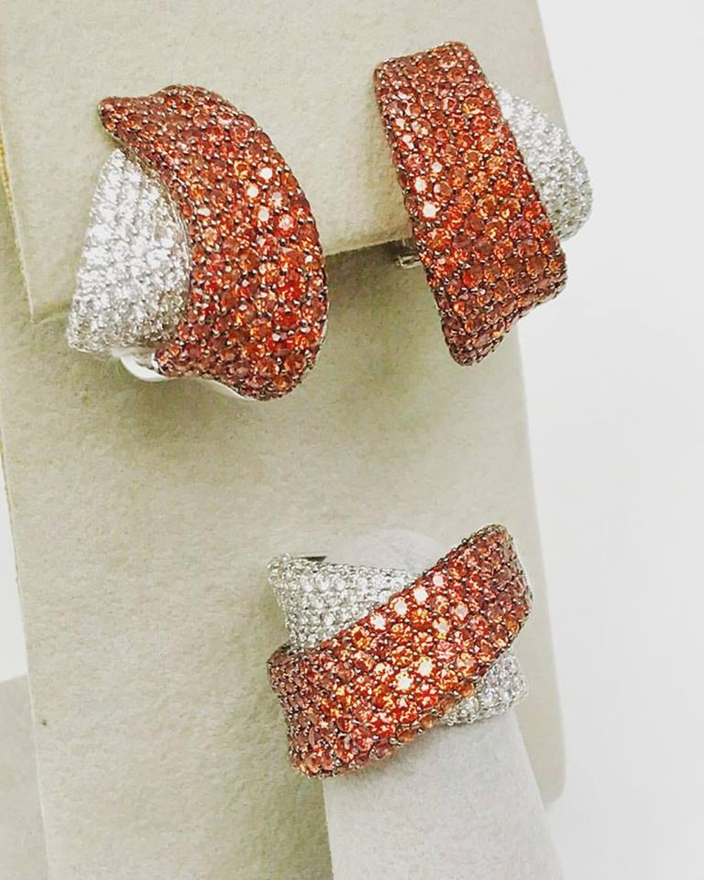 Orange Sapphire and Diamond Crossover Earrings and Ring