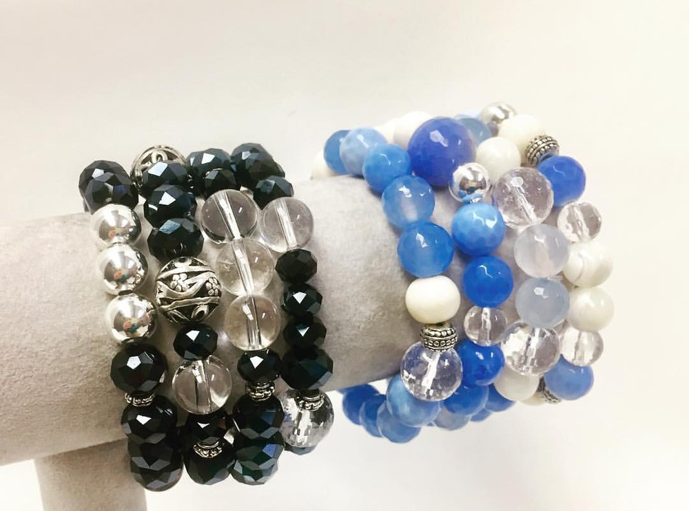 Arm Candy Bracelets in Hematite and Blue Quartz (Sold Separately)