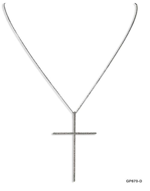Large Thin Cross Diamond Pendant