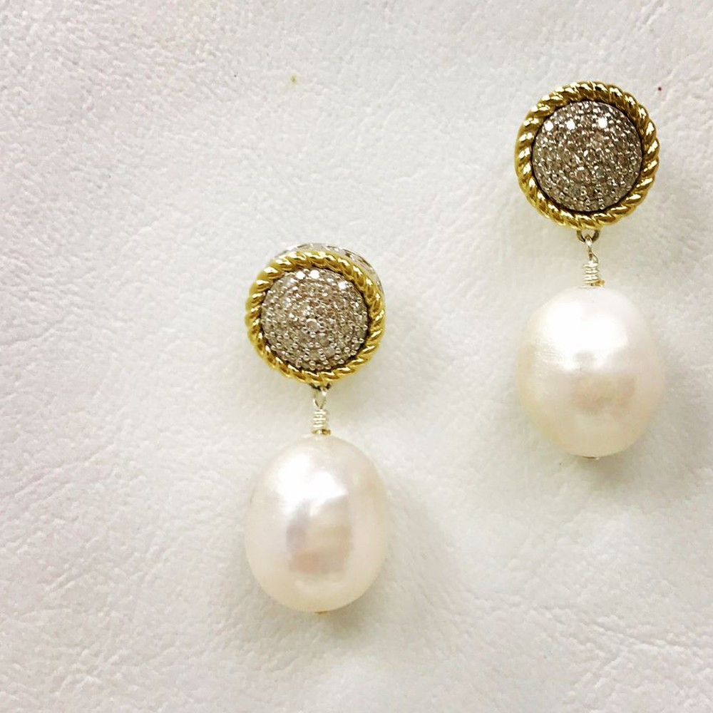 Cluster Silver and Gold Diamond Pearl Drop Earrings