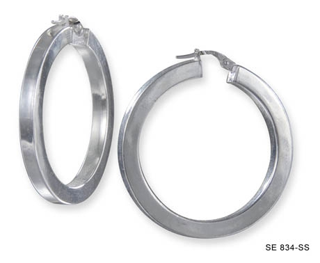 Square Edge Silver Hoops