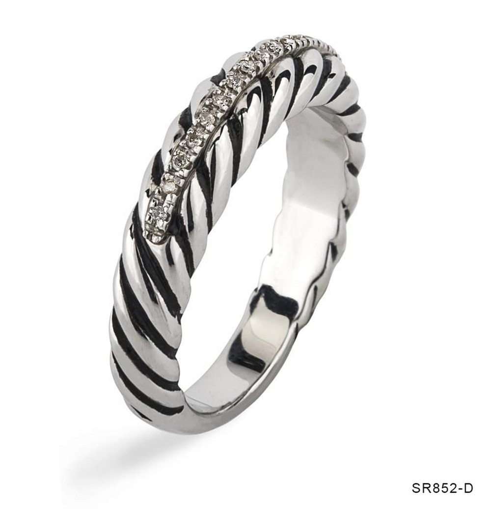 Silver Rope Diamond Line Ring