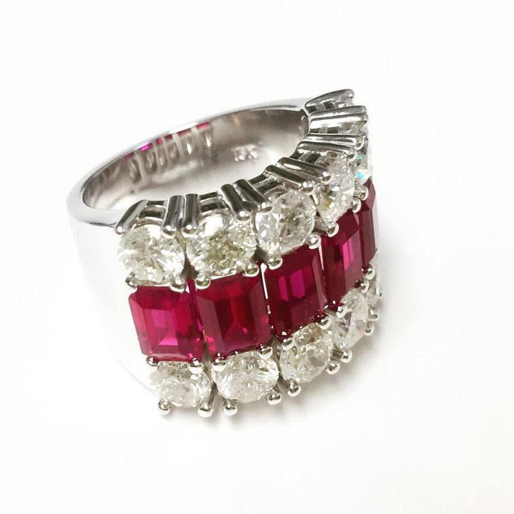 Ruby and Diamond Rows Ring with Emerald Cut Rubies and Brilliant Cut Diamonds