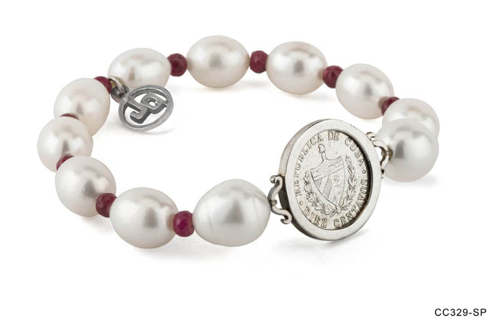Coin Pearl and Ruby Bracelet