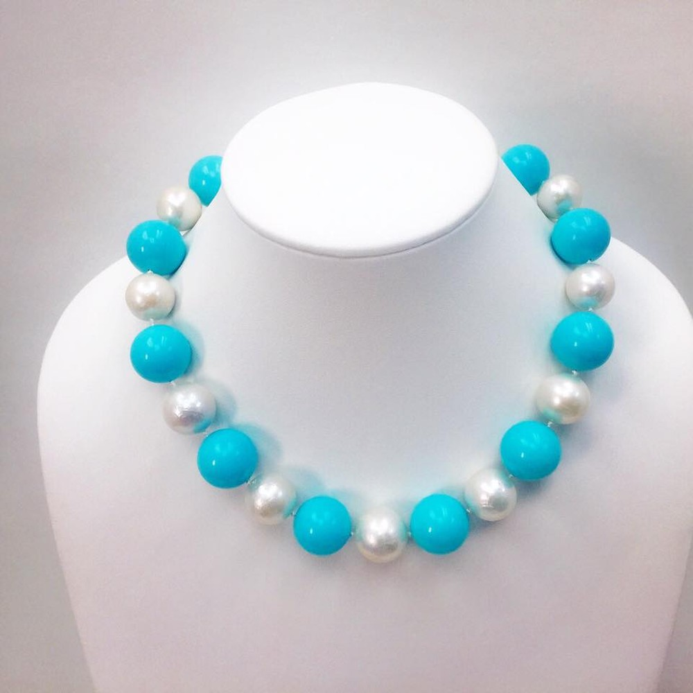 Turquoise Bubbles Necklace with Jumbo Pearls and Gold Clasp