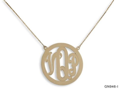Gold Initials Bezel Necklace