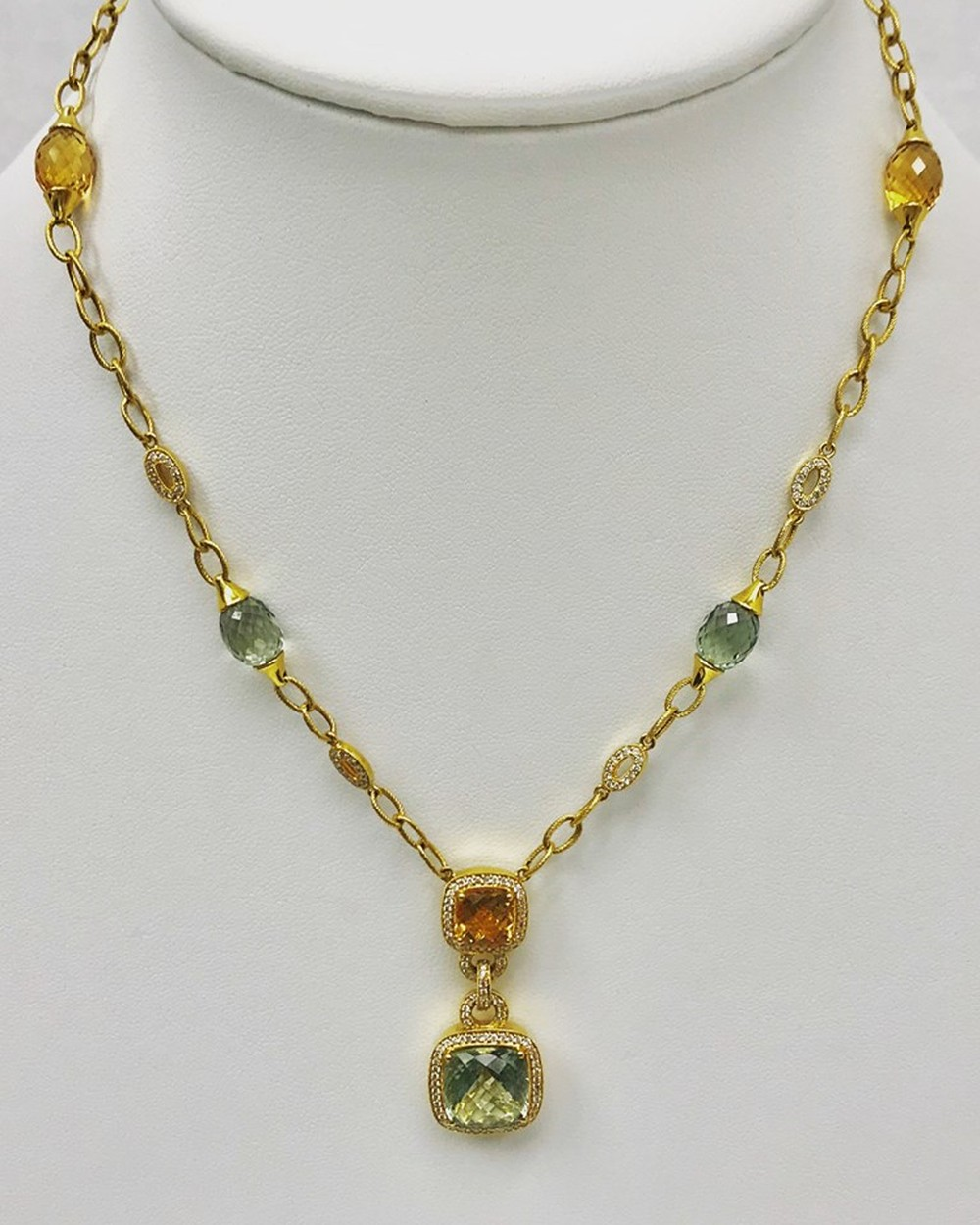 Citrine, Green Amethyst and Diamond Gold Chain Necklace