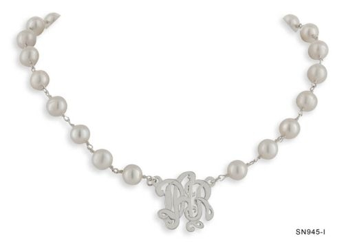 Silver Initials Necklace with Pearls