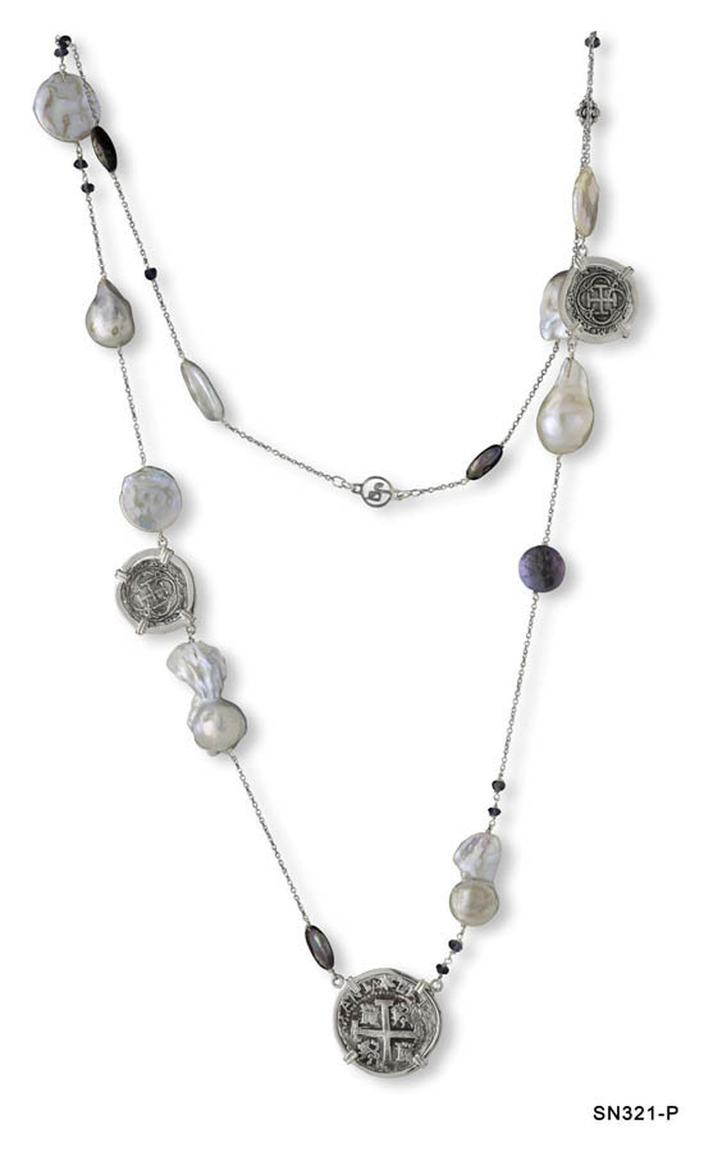 Atocha Coin and Baroque Pearl Chain Necklace