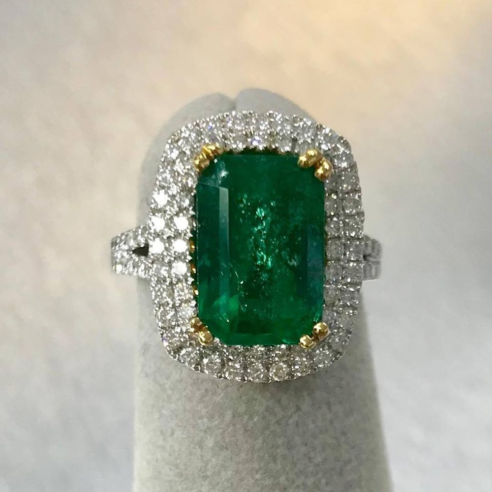 Emerald and Micropave Diamond Ring with 4.50 carat Emerald