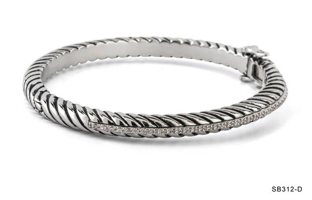 Silver Rope Diamond Row Bangle