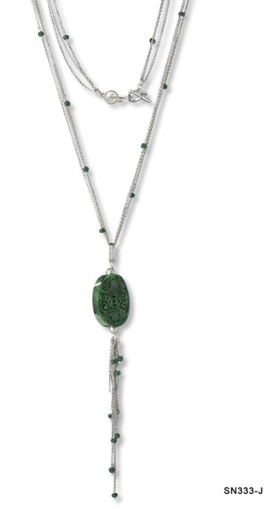 Carved Jade Chain Tassel Necklace