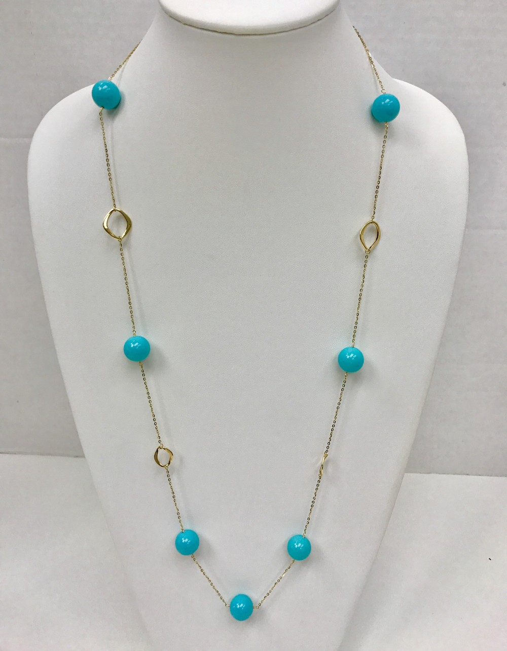 Geometric Turquoise Gold Chain Necklace