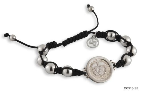 Coin and Bead Shamballa Bracelet