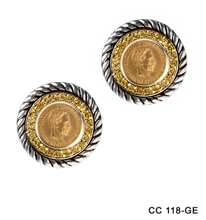 Dos Pesos Gold Cuban Coins on Gold and Silver Rope Earrings