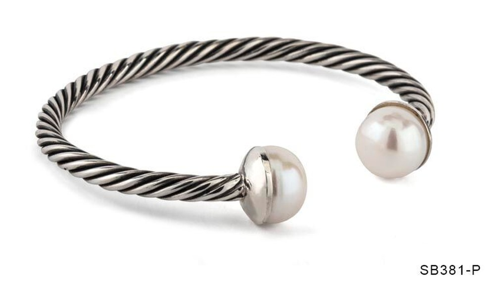 Pearl Rope Open Bangle Bracelet