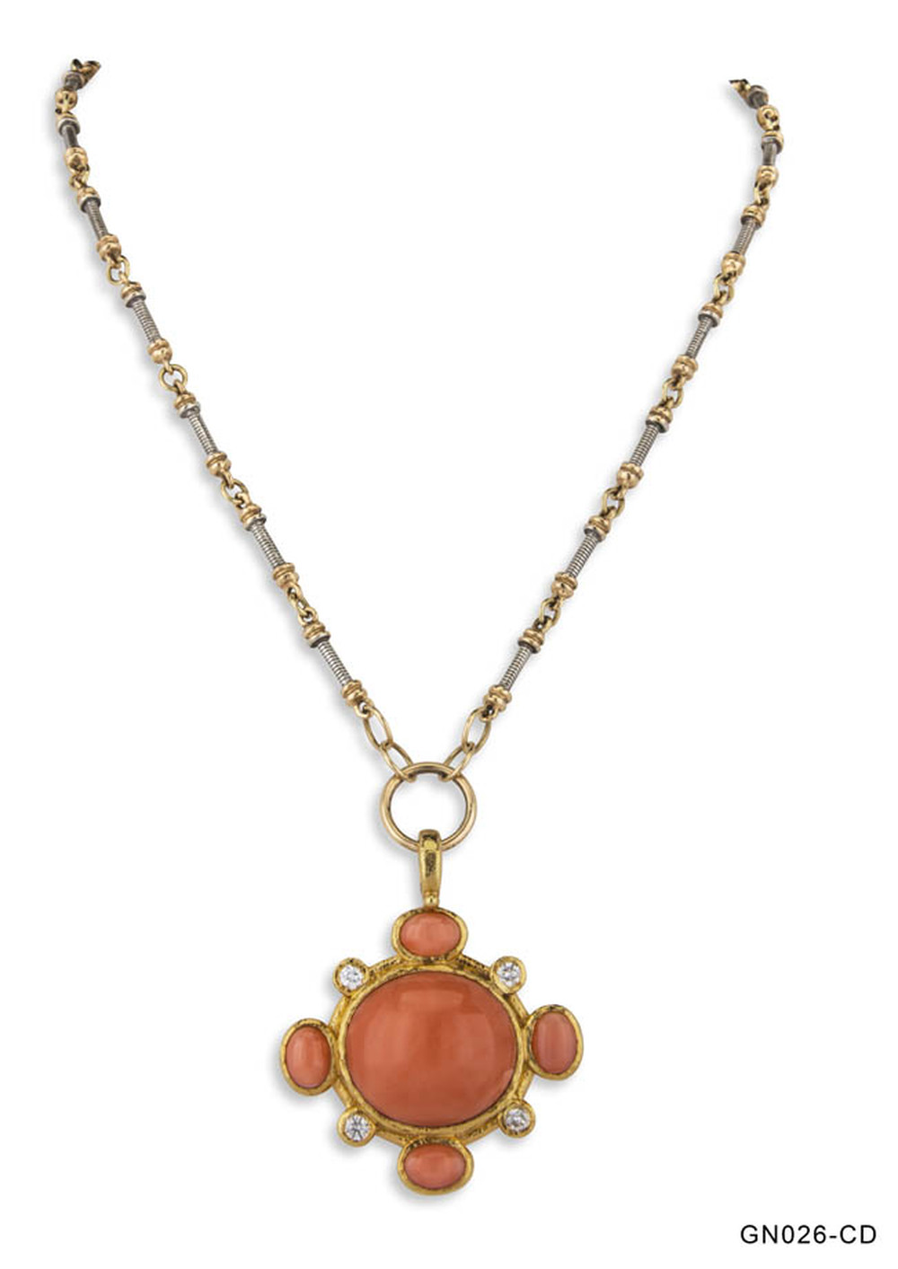 Coral and Diamond Pendant Necklace