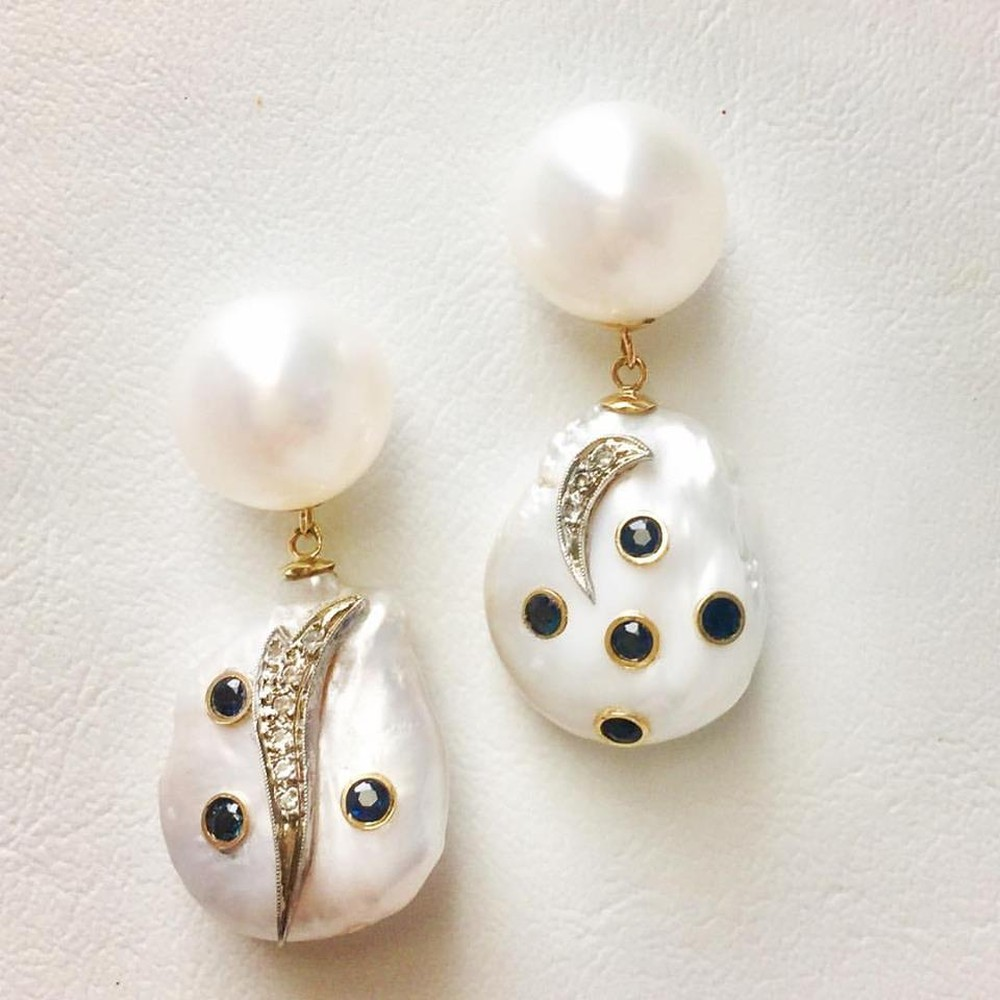 Sapphire Encrusted Baroque Pearl and Diamond Earrings