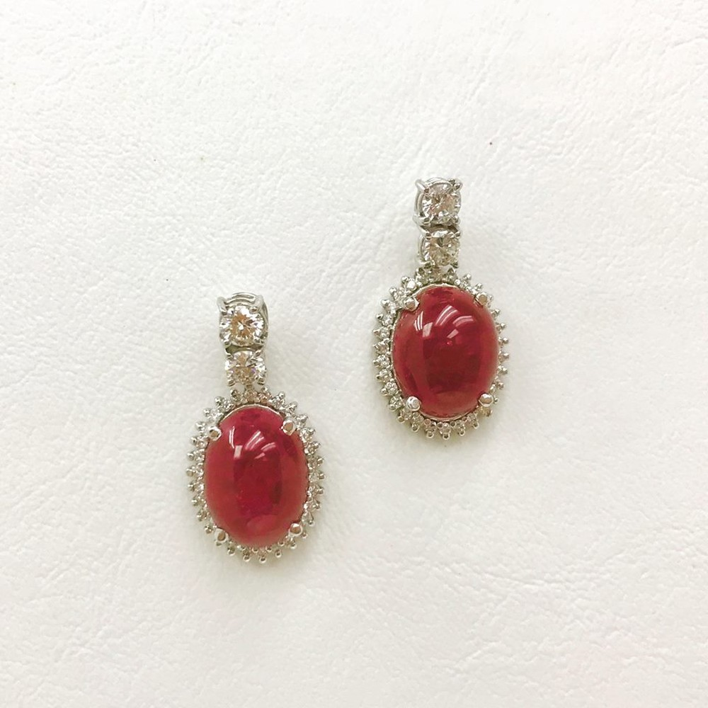 Cabouchon Ruby and Diamond Drop Earrings