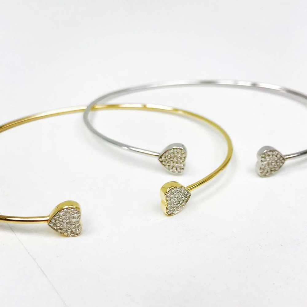 Cluster Heart Diamond Bangle Bracelet (Sold Separately)
