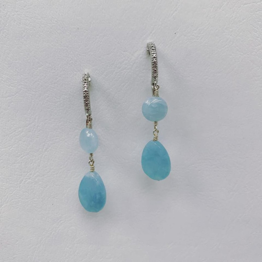 Aquamarine Double Drop and Diamond Hoop Earrings