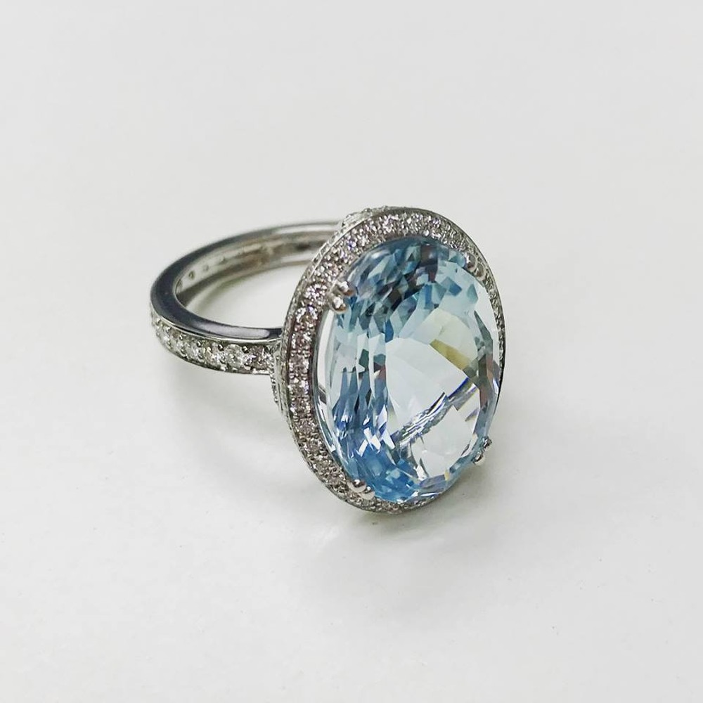 Oval Brazilian Aquamarine and Diamond Ring