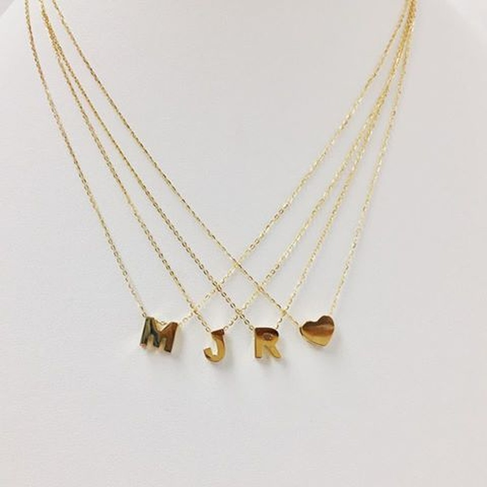 Gold Chunky Initial or Heart Necklace (Sold Separately)