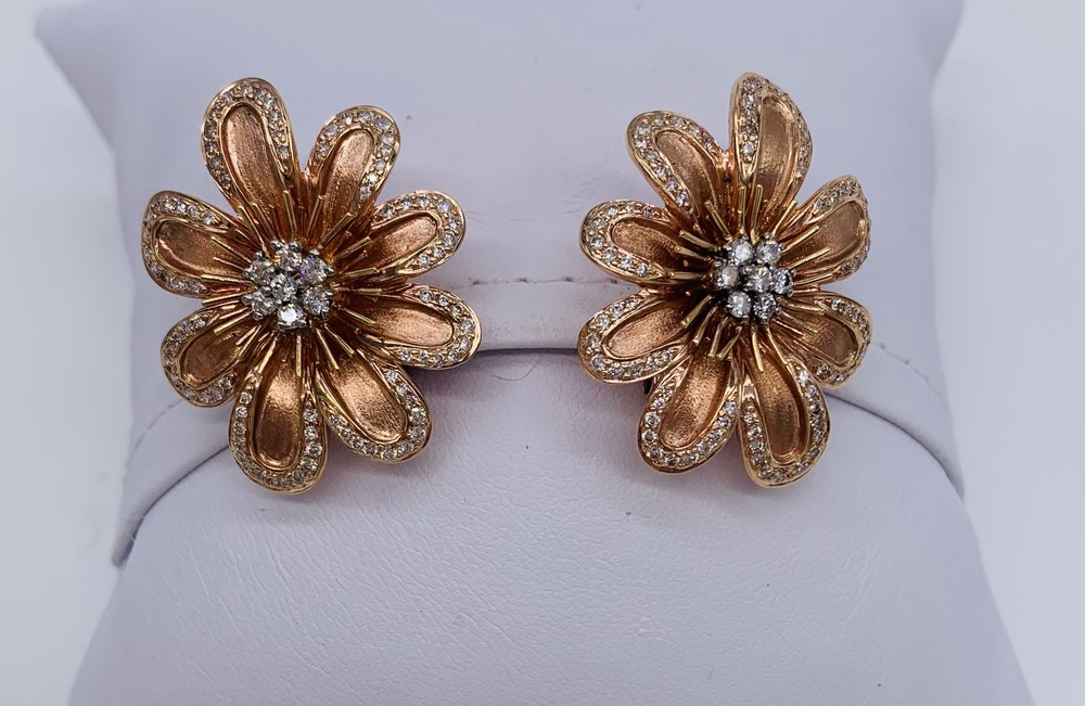 Rose Gold and Diamond Daisy Earrings