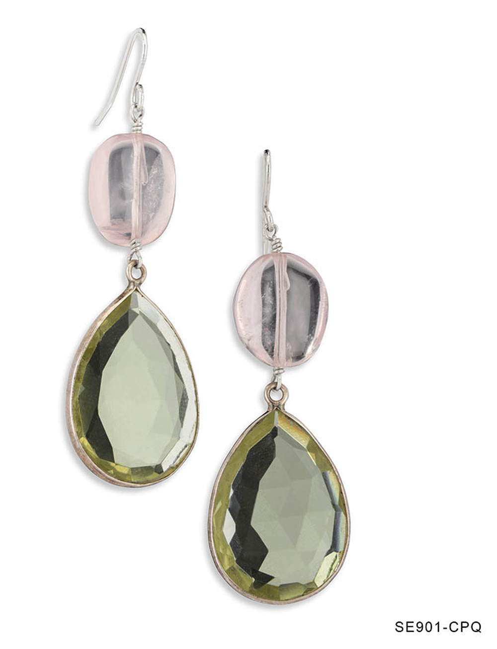 Pink Quartz and Citrine Drop Earrings
