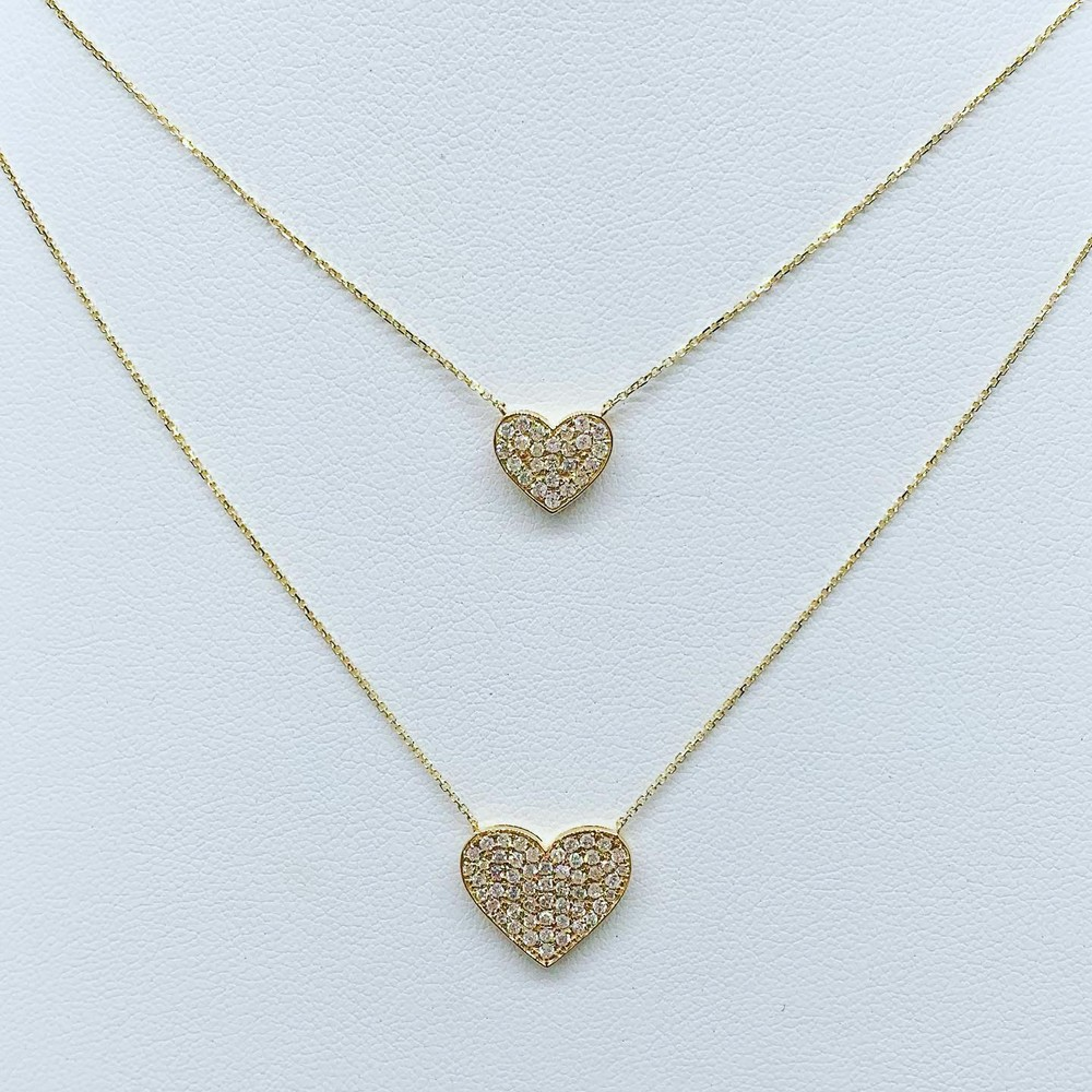 Medium and Large Diamond Heart Necklaces