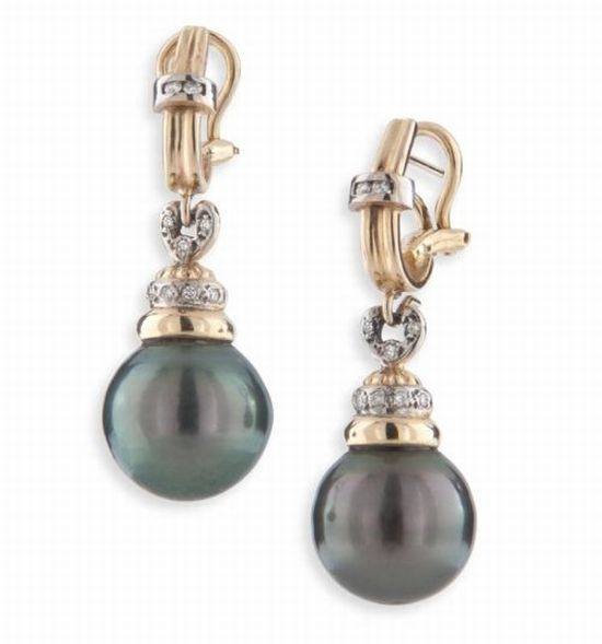 Tahitian Black Pearl Drop Earrings