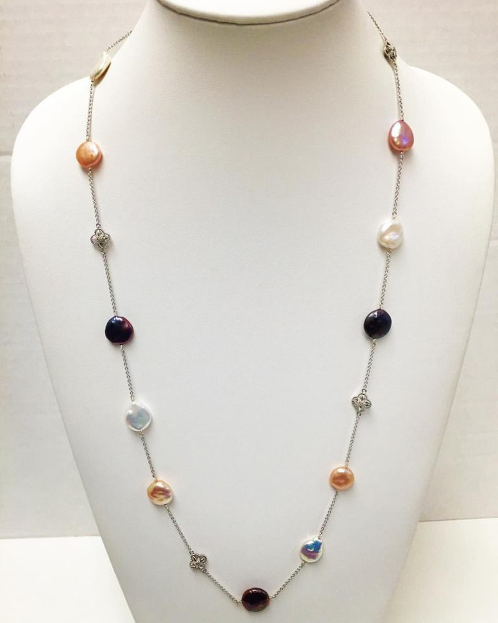 Coin Pearl and Diamond Necklace