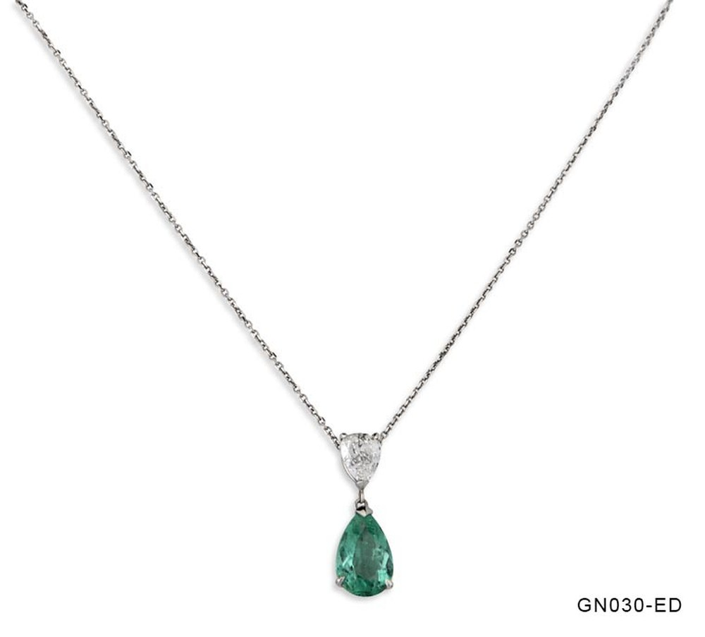 Emerald Drop and Diamond Pear Necklace