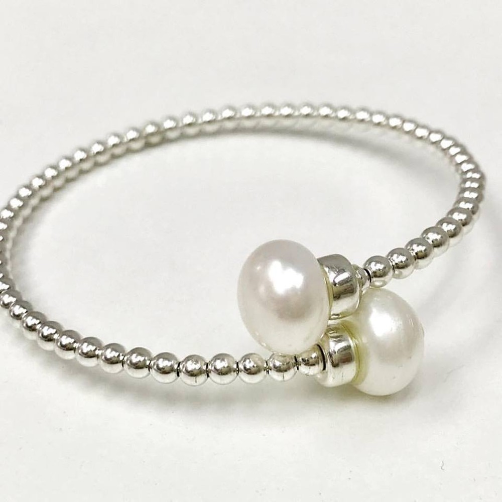 Mini Bead and Pearl Cuff Bracelet