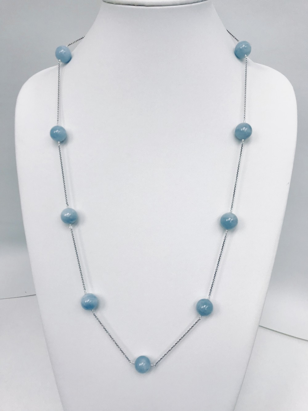 Aquamarine Beads Station Long Necklace on Sterling Silver Rolo Chain