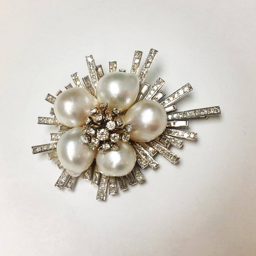Cultured Baroque Pearl and Diamond Flower Pin/Pendant