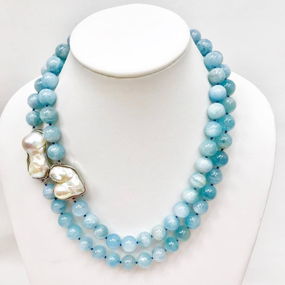 Aquamarine Bead and Baroque Pearl Clasp Necklace (Sold Separately)