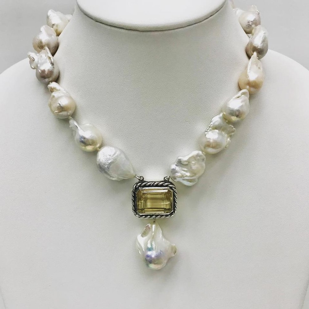 Baroque Pearls and Emerald Cut Brazilian Citrine