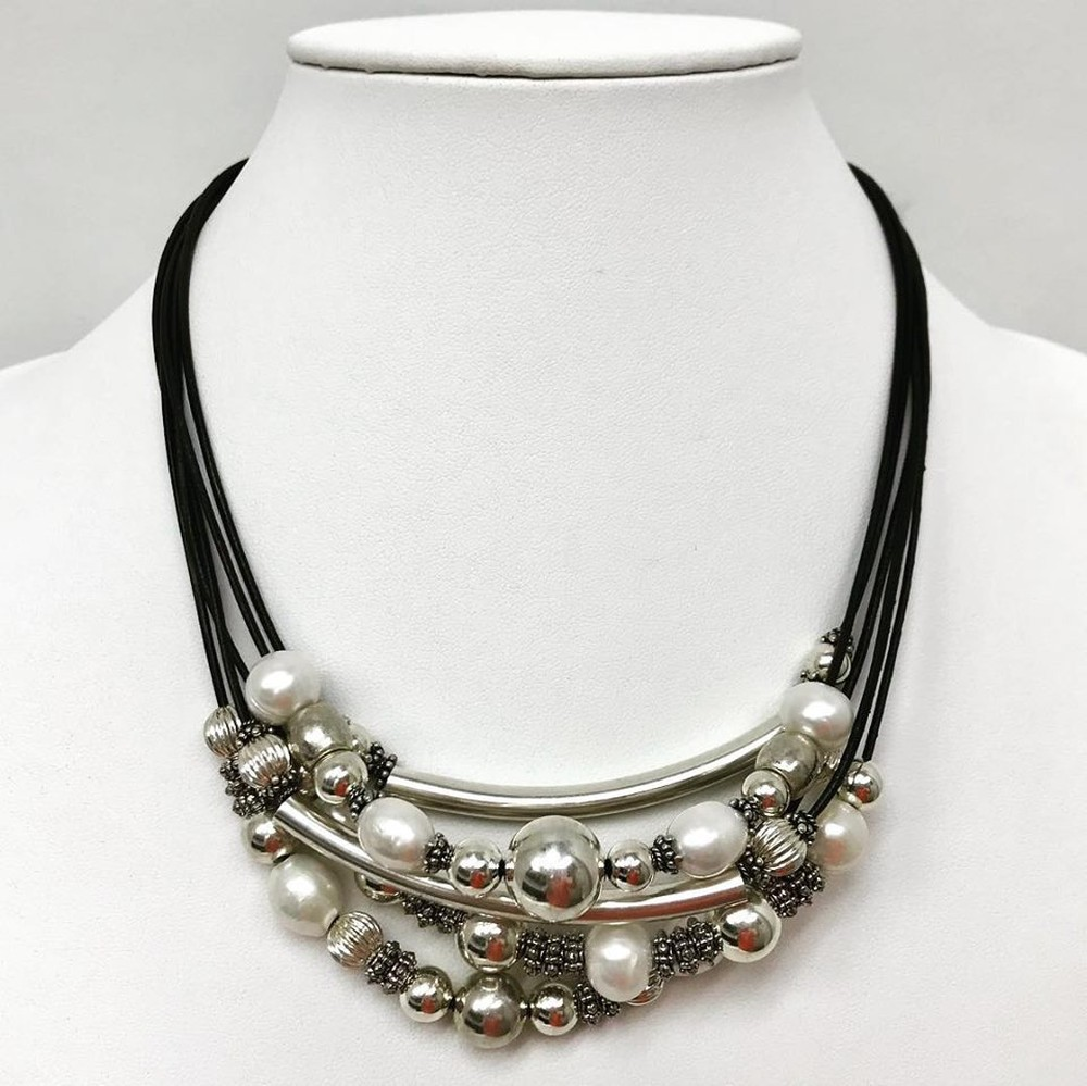 Cluster Leather Pearl and Silver Bead Necklace in Sterling Silver