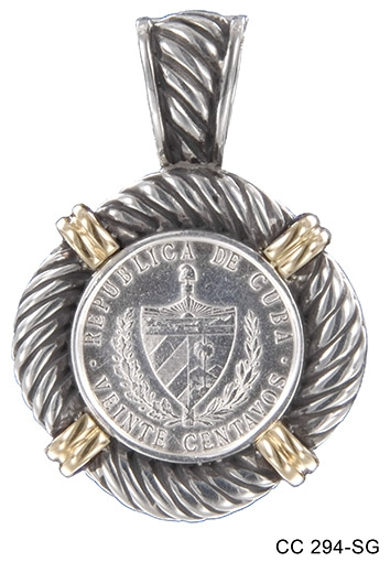 Silver and Gold Rope Coin Pendant