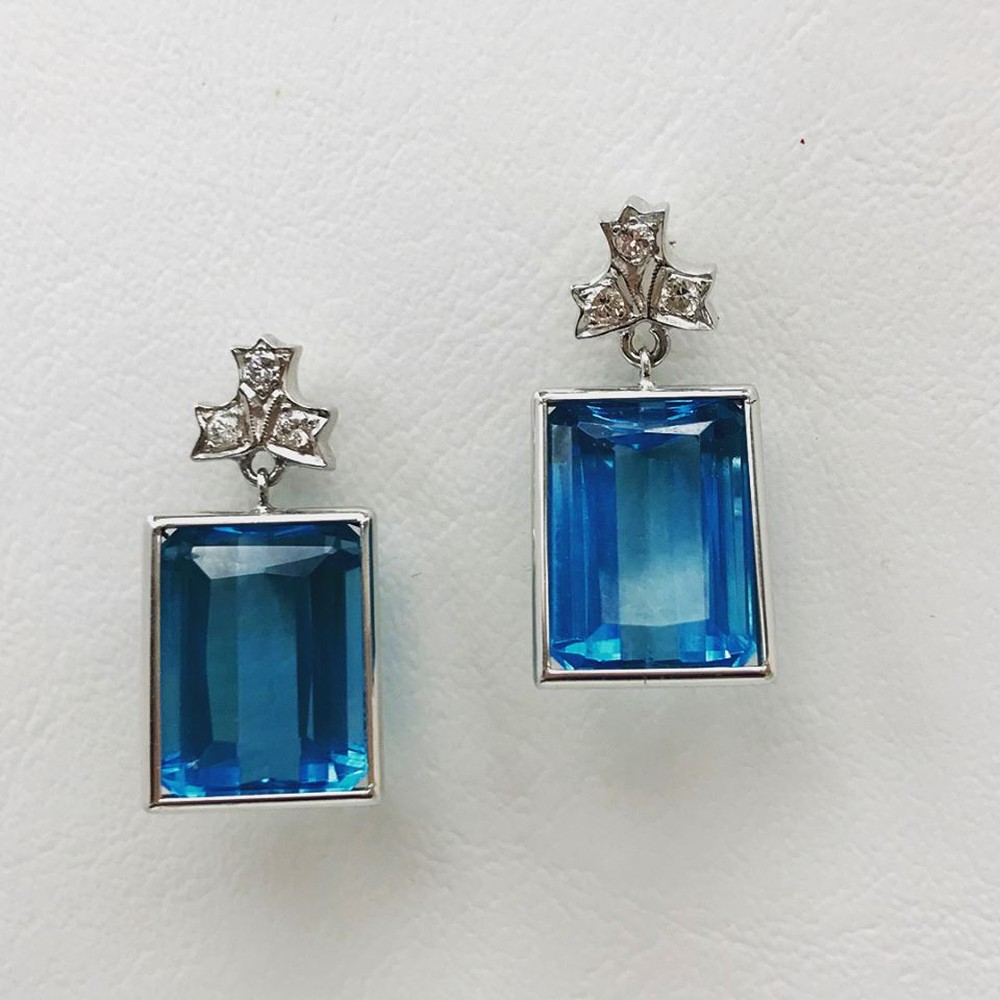 Emerald Cut London Blue Topaz and Diamond Earrings