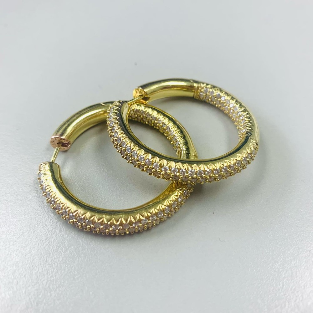 Diamond Hoops in Yellow Gold