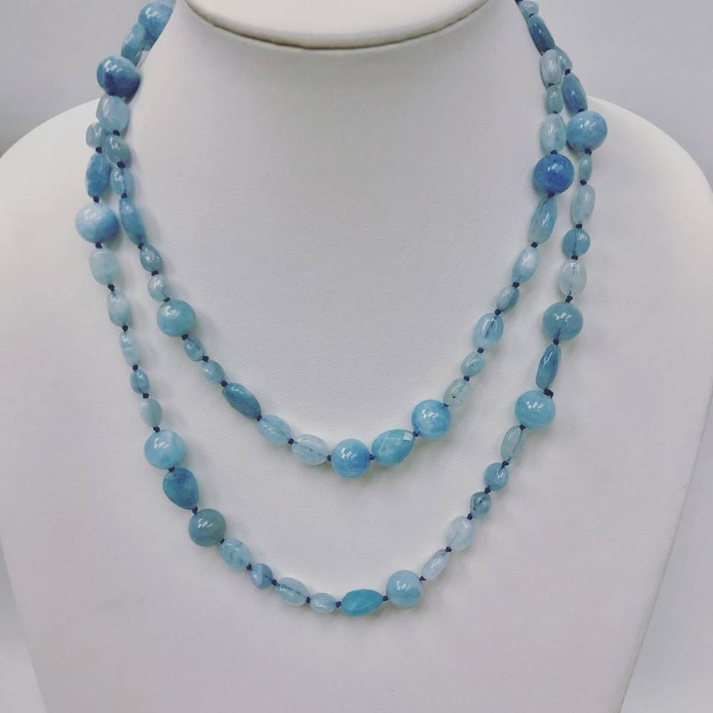 Aquamarine Mixed Beads Long Necklace