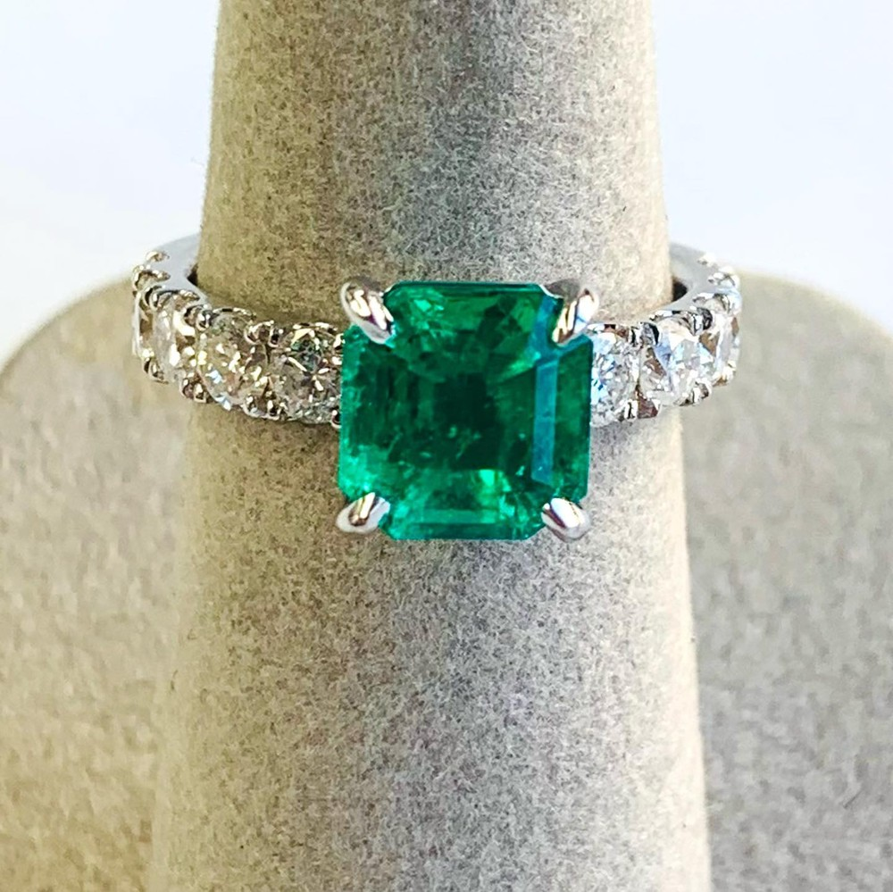 Emerald Ring with Diamond Band