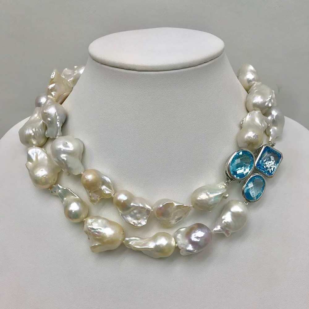 Double Cultured Baroque Pearl and Blue Topaz Necklace