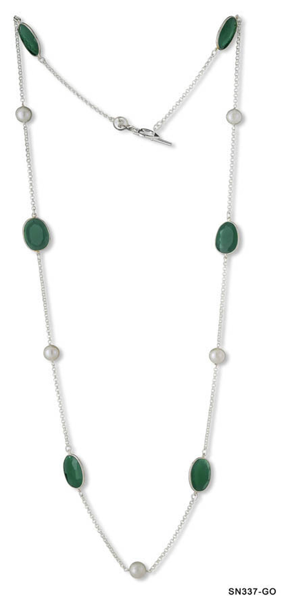 Pearl and Green Onyx Slabs Chain Necklace